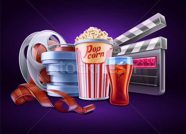 Filme cinema pipoca soda filme rolar Foto stock © jossdiim