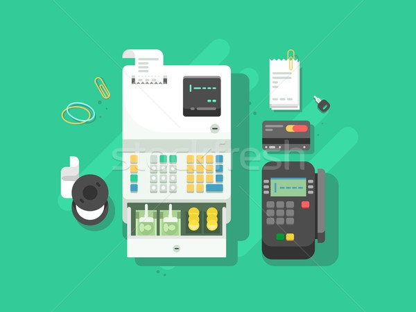 Cash machne and digital terminal for cards Stock photo © jossdiim