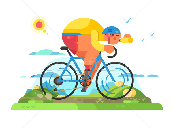 Fast cyclist sportsman on bike Stock photo © jossdiim