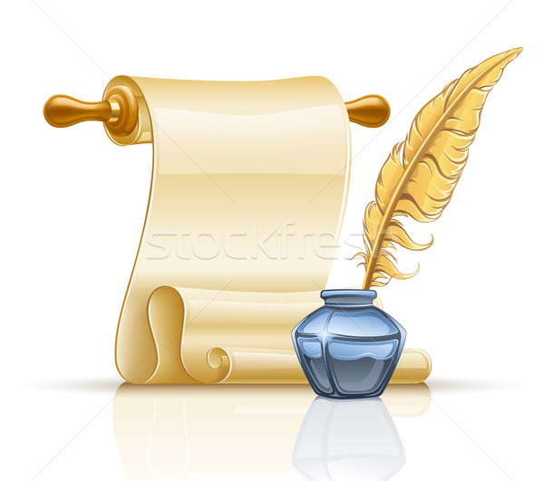 Paper scroll with feather pen and ink pot Stock photo © jossdiim