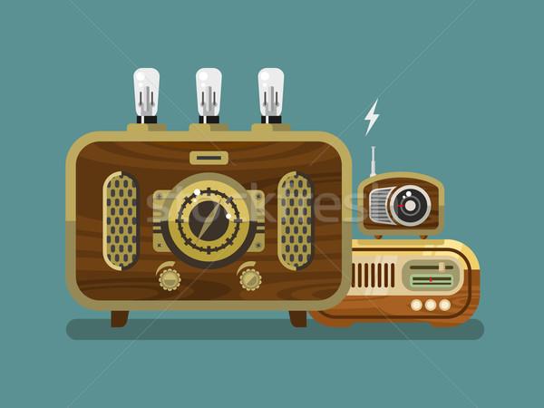 Vintage Radios in Flat Style Stock photo © jossdiim