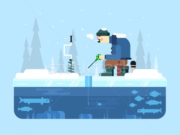 Man on winter fishing Stock photo © jossdiim