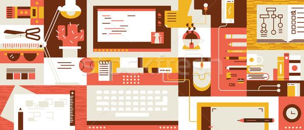 Abstract werkruimte ontwerp computer werkplek illustratie Stockfoto © jossdiim