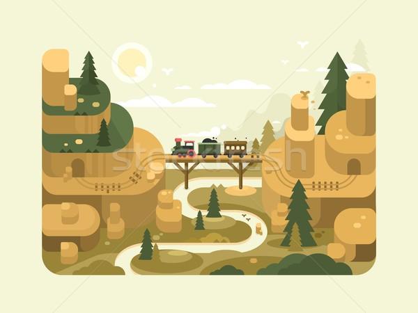 Ferrovia design treno cielo montagna ponte Foto d'archivio © jossdiim