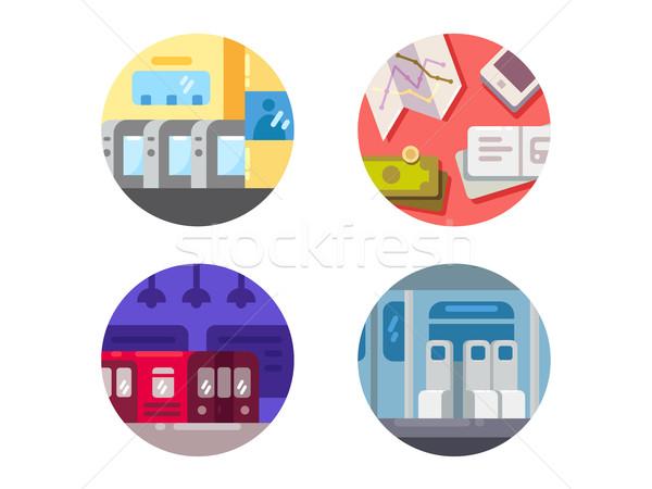 Stock photo: Subway flat icons