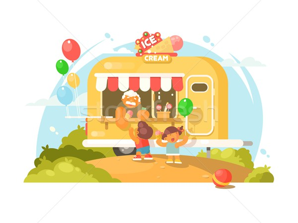ストックフォト: アイスクリーム · ヴァン · 幸せ · 子供 · 購入 · 甘い