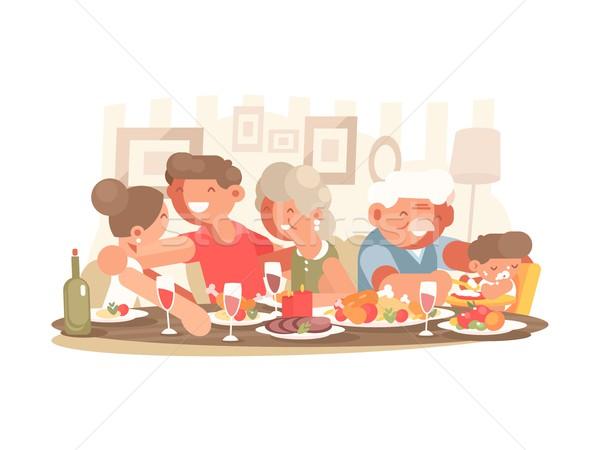 Gelukkig gezin tafel vader moeder grootouders kleinzoon Stockfoto © jossdiim