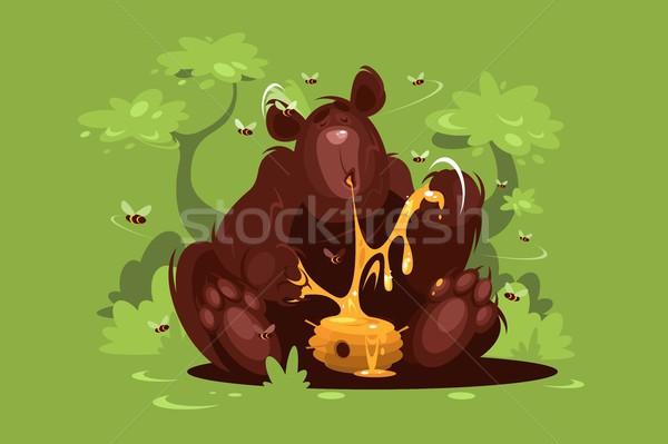 ストックフォト: ヒグマ · 食べる · 甘い · はちみつ · 緑 · 森林