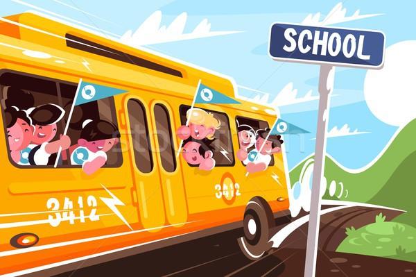黄色 スクールバス 学校 幸せ 子供 輸送 ストックフォト © jossdiim