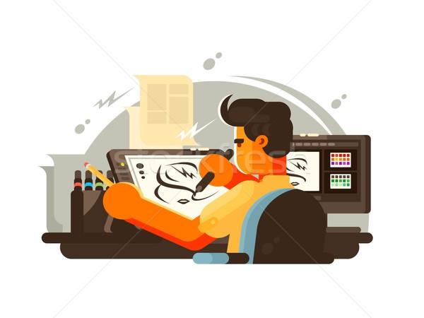 Designer illustrator munka hely tabletta számítógép Stock fotó © jossdiim
