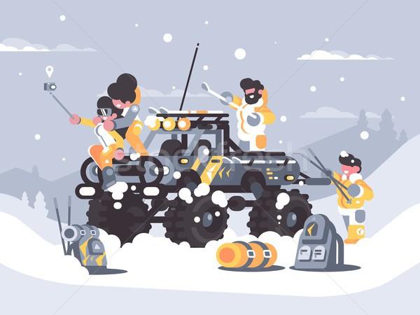 Barátok tél hegyek lány férfi sport Stock fotó © jossdiim
