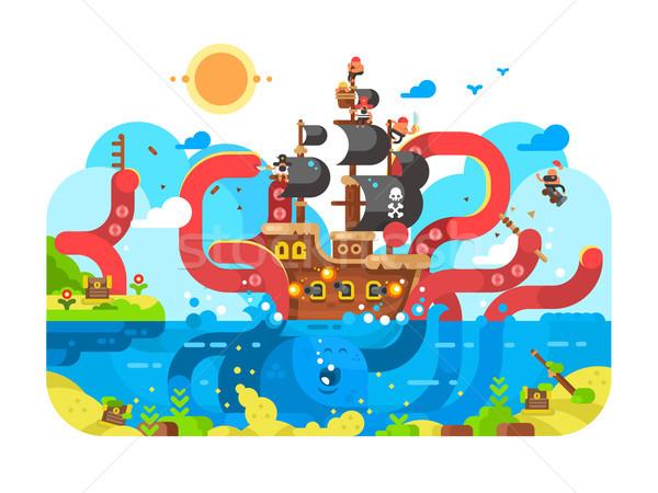 Kraken sea monster and sinks ship design flat Stock photo © jossdiim