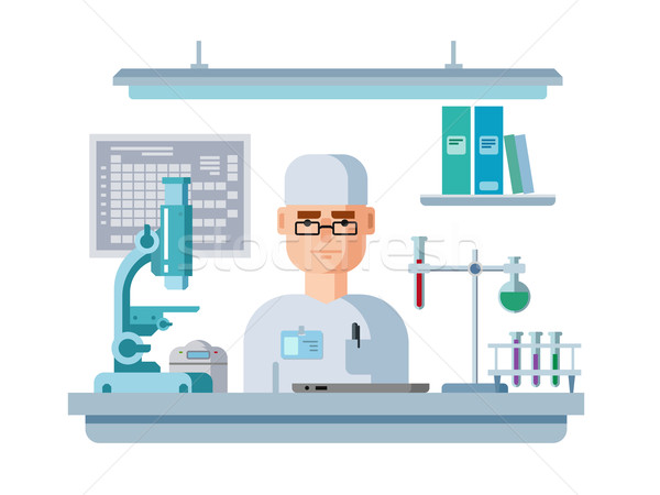 Doctor Sits in Laboratory, Healthcare and Medical Research. Stock photo © jossdiim