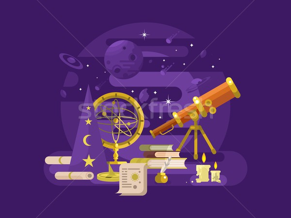 Astronomie design rétro science astrologie instrument Photo stock © jossdiim