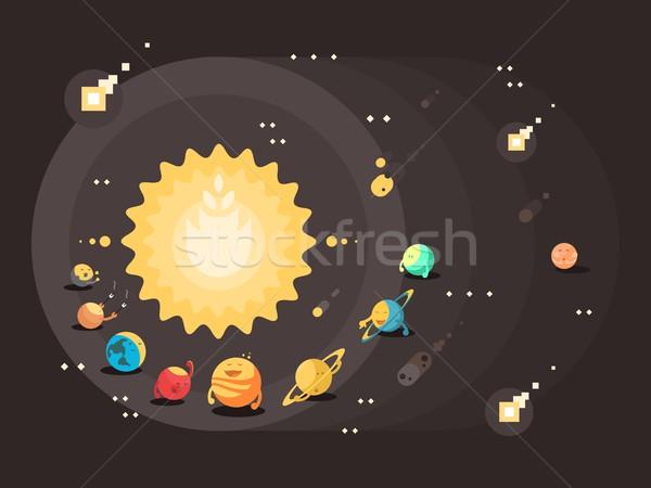 Sistema solar projeto sol conjunto planetas terra Foto stock © jossdiim