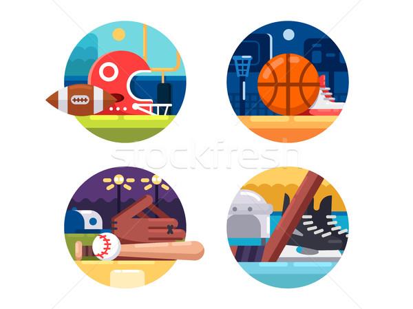 иконки популярный спортивных регби баскетбол Сток-фото © jossdiim