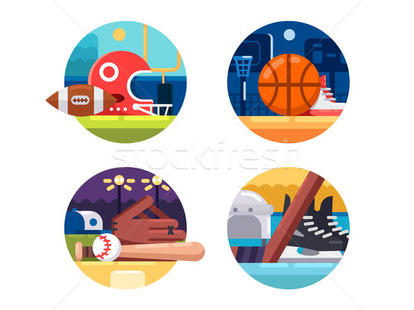 ícones popular esportes rugby basquetebol Foto stock © jossdiim