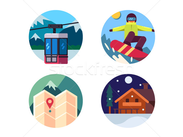 Ski resort set of icons Stock photo © jossdiim