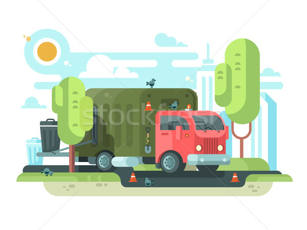 Garbage truck collects garbage in park Stock photo © jossdiim