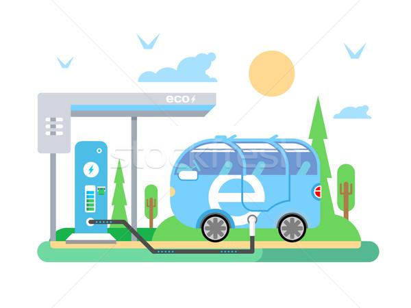 Elektrische Fahrzeug Transport Strom Kraftstoff Macht Stock foto © jossdiim
