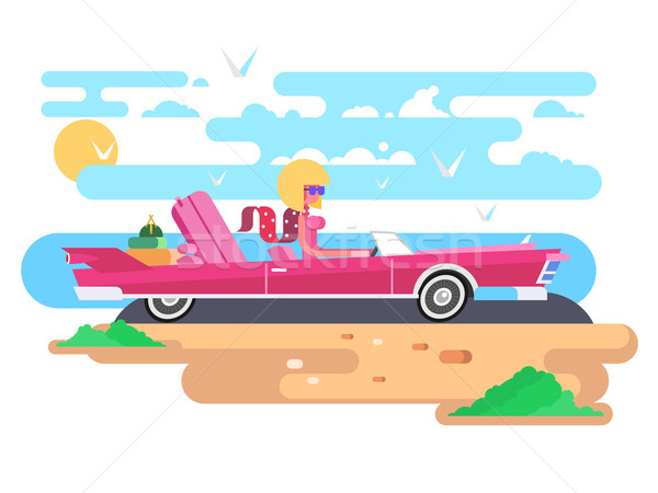 Cabriolet vacanze donna auto driver Foto d'archivio © jossdiim