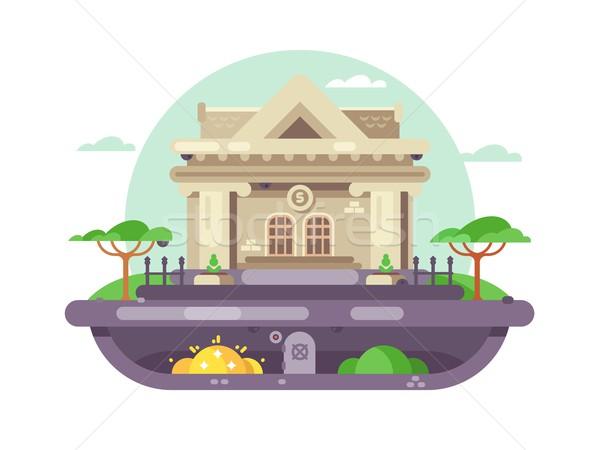 Arquitectónico banco edificio financieros institución columnas Foto stock © jossdiim