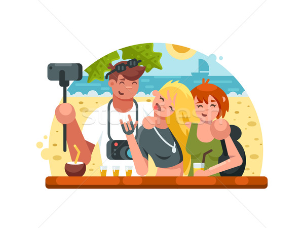 Company of friends making selfies Stock photo © jossdiim