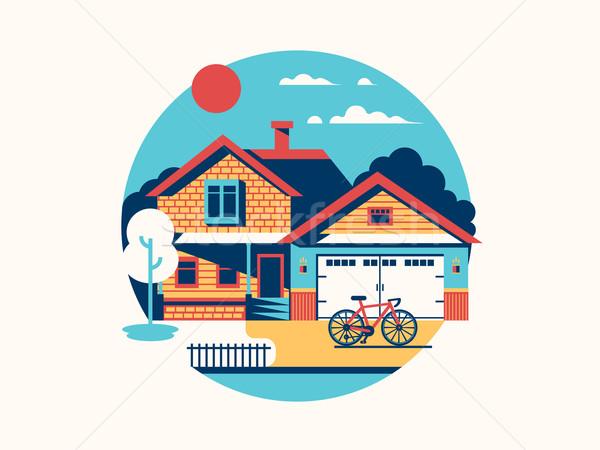 Stock photo: House icon isolated flat