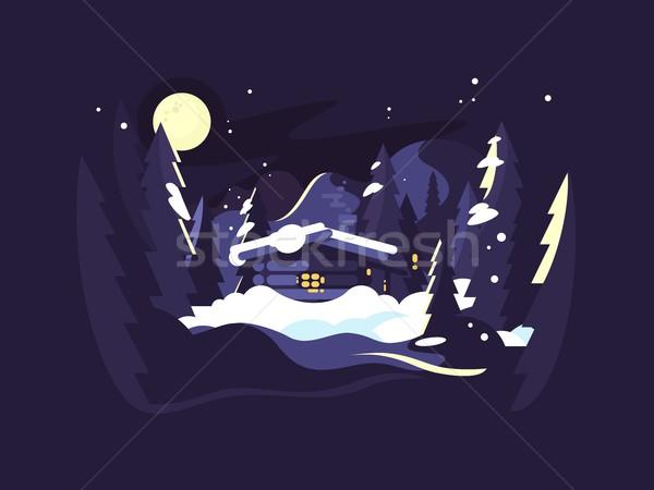 дома лесу зима ночь лес Сток-фото © jossdiim