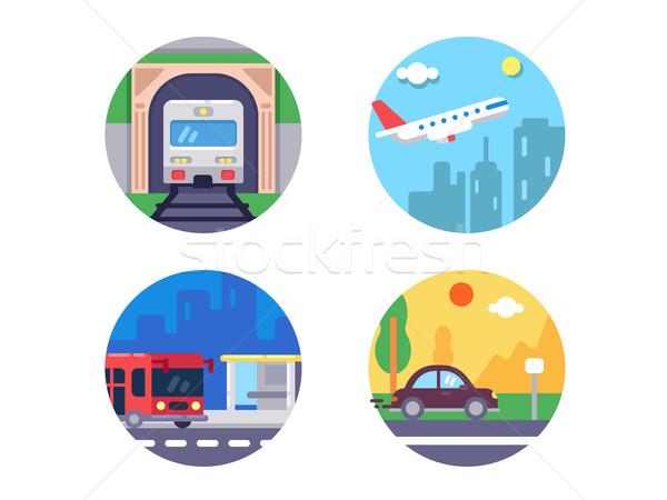 Transport icons set Stock photo © jossdiim