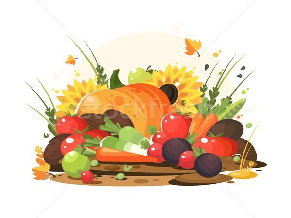 Foto stock: Otono · cosecha · hortalizas · frutas · calabaza · tomates