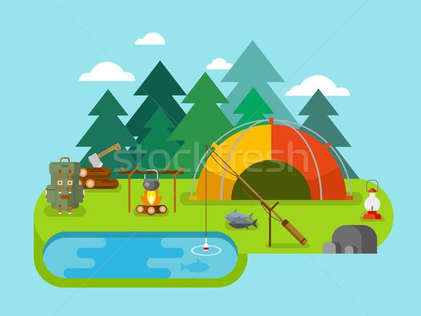 Foto stock: Aire · libre · pesca · campamento · viaje · picnic