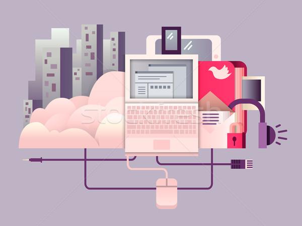 Cloud hosting terv technológia háló számítástechnika kapcsolat Stock fotó © jossdiim