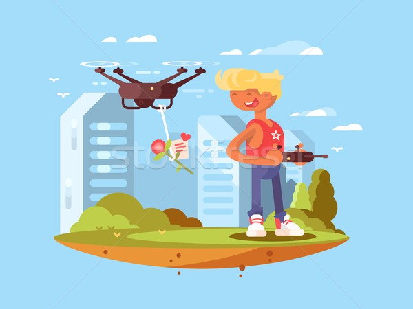 Delivery using quadrocopters Stock photo © jossdiim