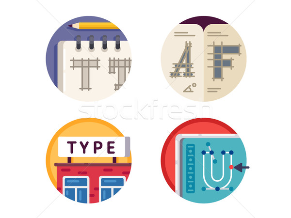 Type font pixel perfect icons set Stock photo © jossdiim