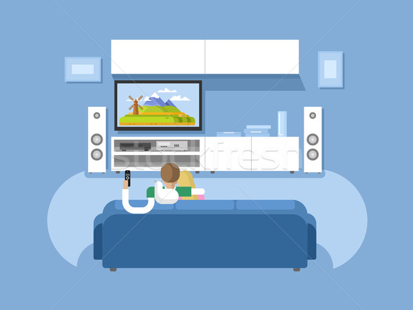 Intérieur maison meubles film tv Photo stock © jossdiim