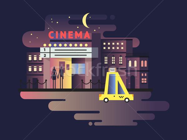 Cinema building night Stock photo © jossdiim