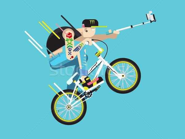 Active bicyclist character Stock photo © jossdiim