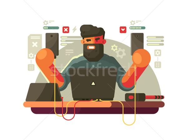 Fejlesztő mobiltelefonok szakállas férfi kütyük telefon Stock fotó © jossdiim