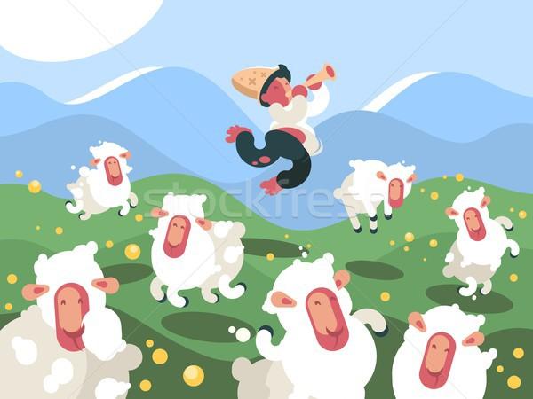 Shepherd grazes herd of sheep Stock photo © jossdiim