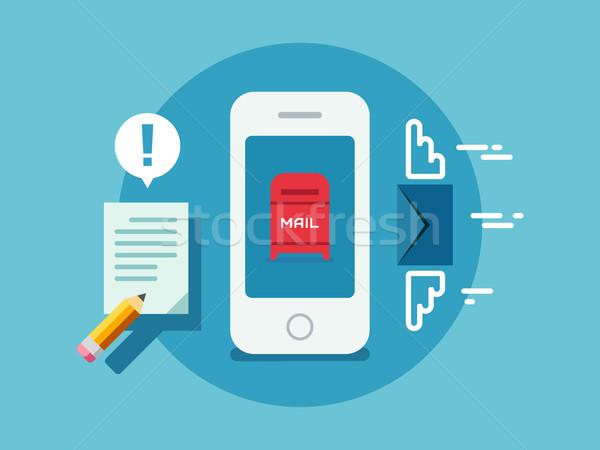 Newsletter Notification on Smart Phone Screen Flat Style. Stock photo © jossdiim
