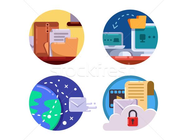Documentação documento gestão conjunto ícone negócio Foto stock © jossdiim