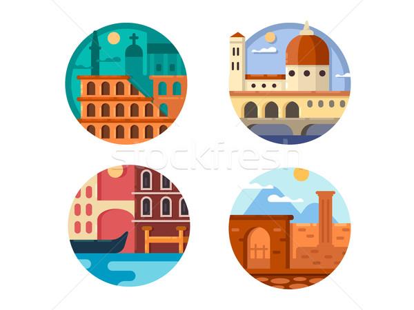 Włochy zestaw ikona Rzym Wenecja Zdjęcia stock © jossdiim
