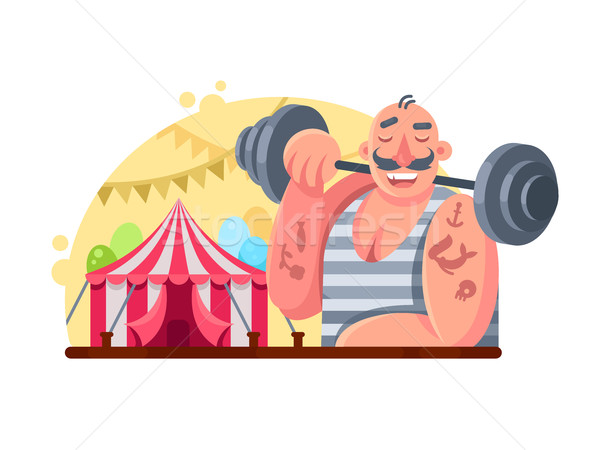 Funny circus weight lifter Stock photo © jossdiim