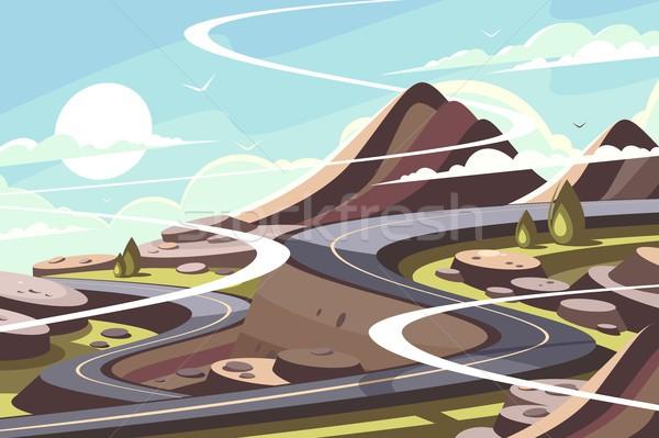 Mountain asphalt road serpentine Stock photo © jossdiim
