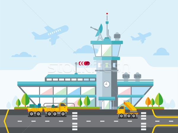 Airport Modern Flat Design Vector Illustration Stock photo © jossdiim