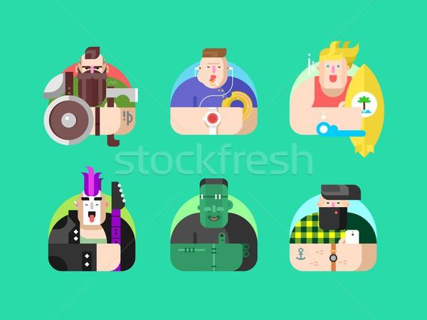 Ayarlamak avatar dizayn yüz insanlar karakter Stok fotoğraf © jossdiim