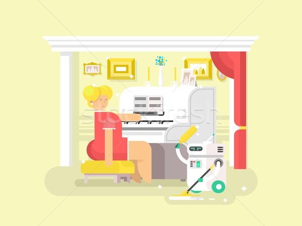 Foto stock: Trabalhos · domésticos · robô · assistente · limpador · casa · doméstico