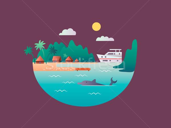 Yacht tropischen Meer Ozean Wasser Strand Stock foto © jossdiim