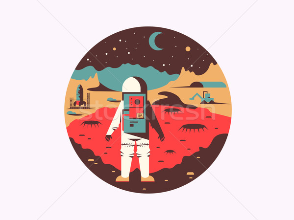 Man in space on unknown planet Stock photo © jossdiim